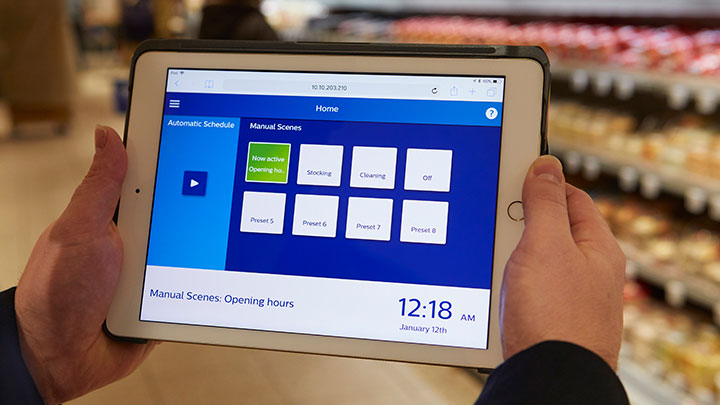 Dashboard StoreWise wireless op ipad, lichtscenes kiezen