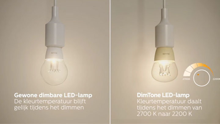 Dimtone LED verlichting, een warme dimbare led lamp.